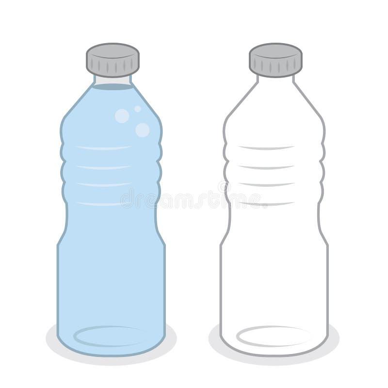 Plein vide de bouteille d'eau illustration de vecteur