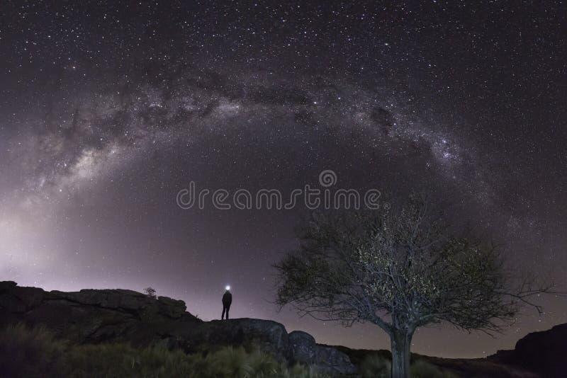 Pleine étoile de galaxie de manière laiteuse d'en demi-cercle tirée à travers le paysage avec le modèle solo de personne image stock