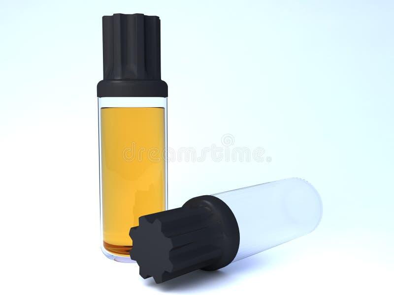 Pleine bouteille et bouteille vide avec le produit chimique illustration stock