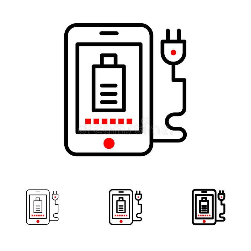 Pleine, de prise ligne noire audacieuse et mince ensemble de mobile, de charge, d'icône illustration de vecteur