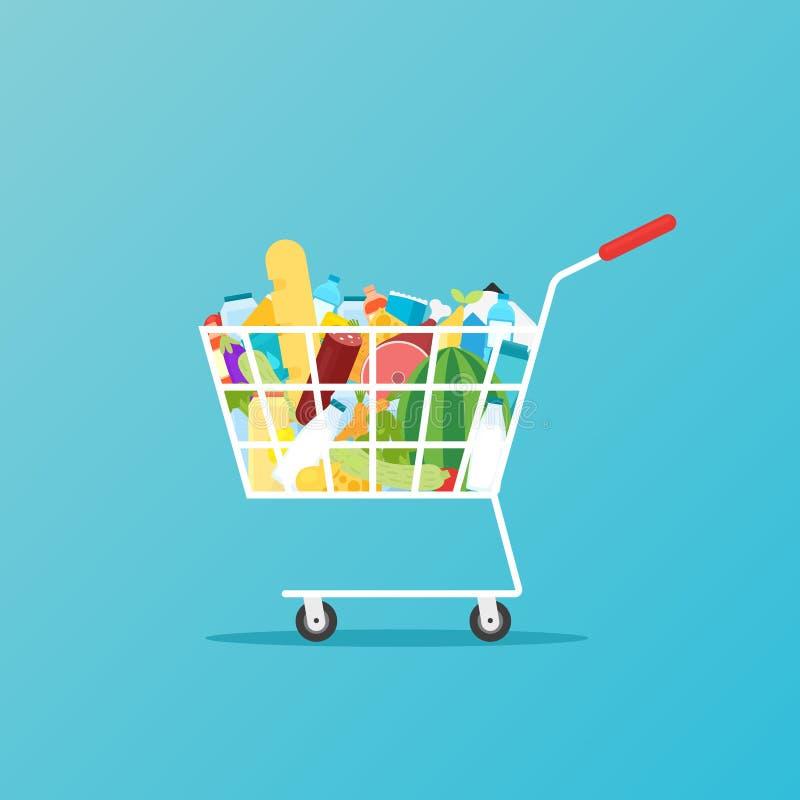 Pleine icône de chariot d'épicerie illustration de vecteur
