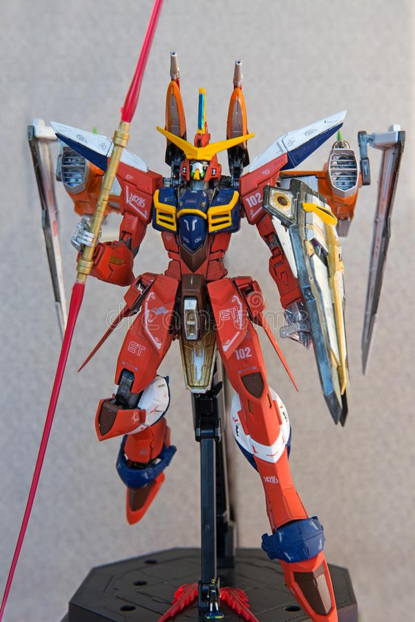 Pleine liberté Gundam de pose d'attaque peinte à la main faite sur commande photographie stock libre de droits