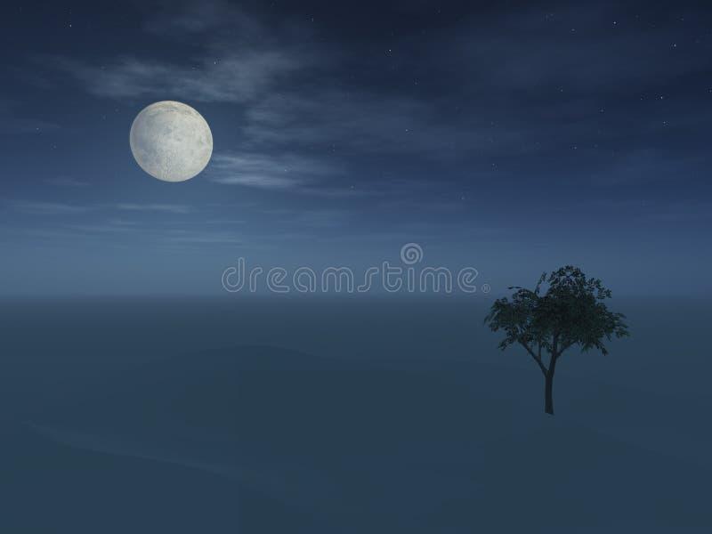 Pleine lune au-dessus de colline image stock