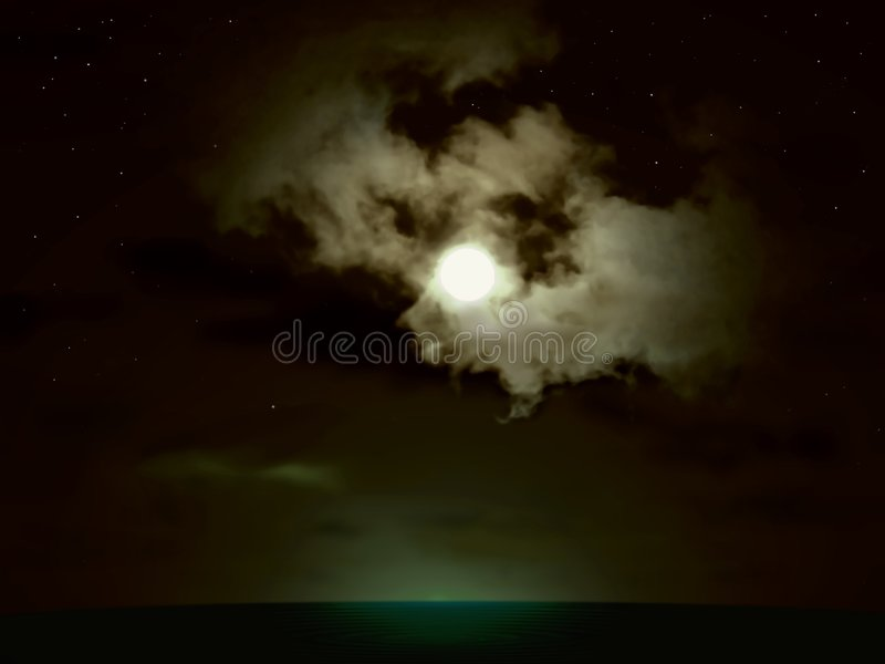 Pleine lune au-dessus de la mer images libres de droits