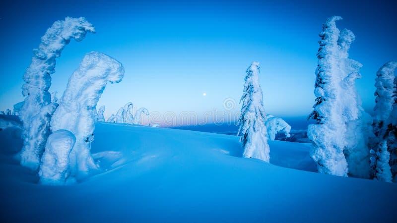 Pleine lune au-dessus des montagnes neigeuses image libre de droits