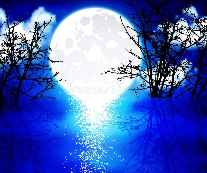 Pleine lune au-dessus du lac illustration stock