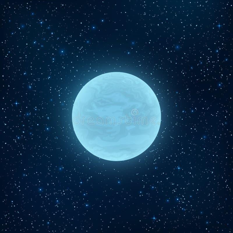 Pleine lune bleue rougeoyante dans l'espace Beaucoup d'étoiles lumineuses L'espace réaliste illustration libre de droits