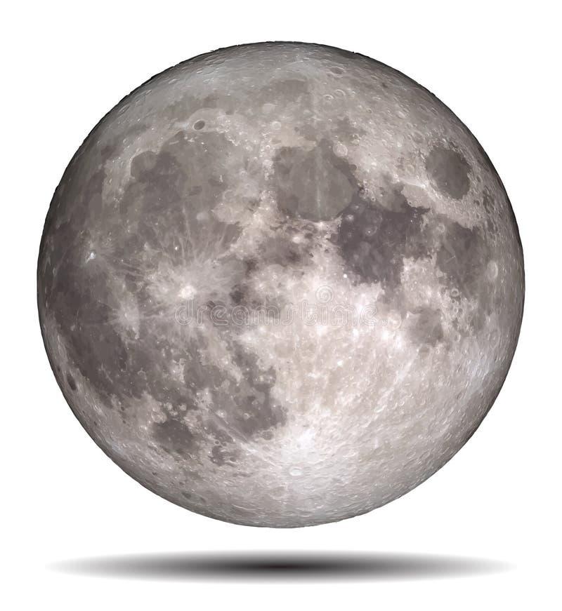 Pleine lune d'isolement sur le fond blanc illustration de vecteur