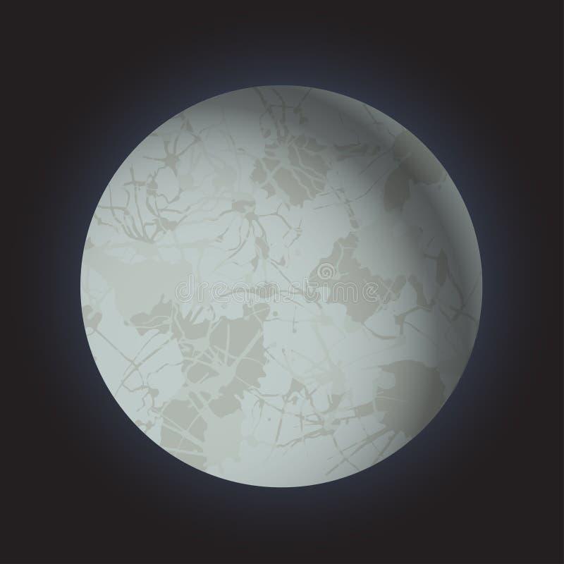Pleine lune du volume 3d sur le fond foncé noir Clair de lune brillant mystique Planète de l'espace illustration stock
