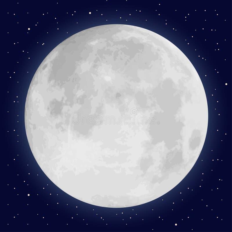 Pleine lune et étoiles réalistes illustration stock