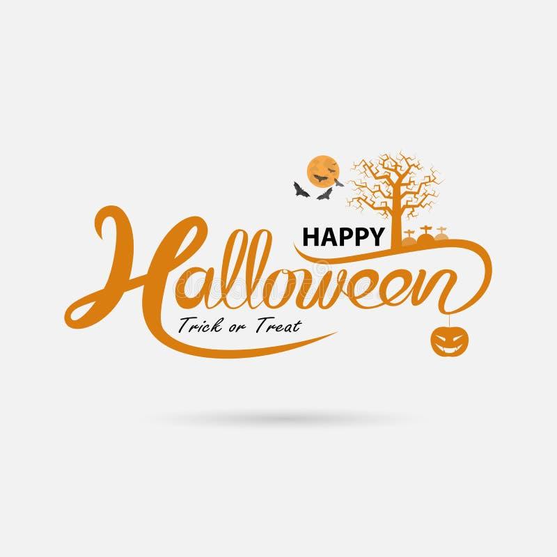 Pleine lune et grand arbre avec la calligraphie de bannière de Halloween Veille de la toussaint illustration libre de droits