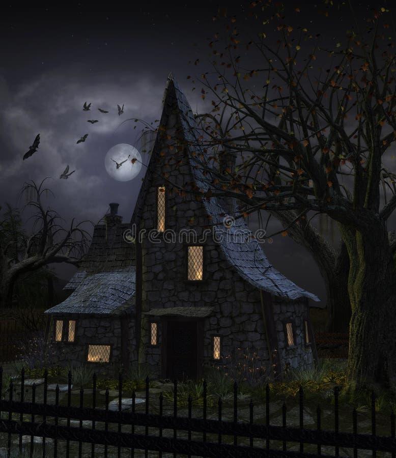 Pleine lune hantée effrayante de Chambre illustration de vecteur