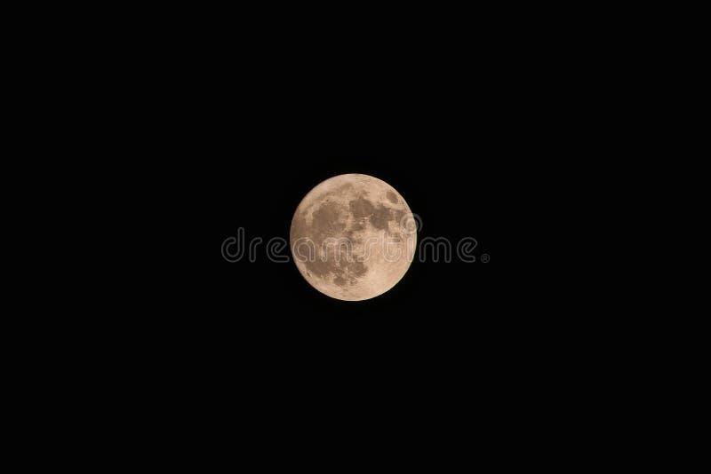Pleine lune jaune sur le fond foncé de ciel image libre de droits