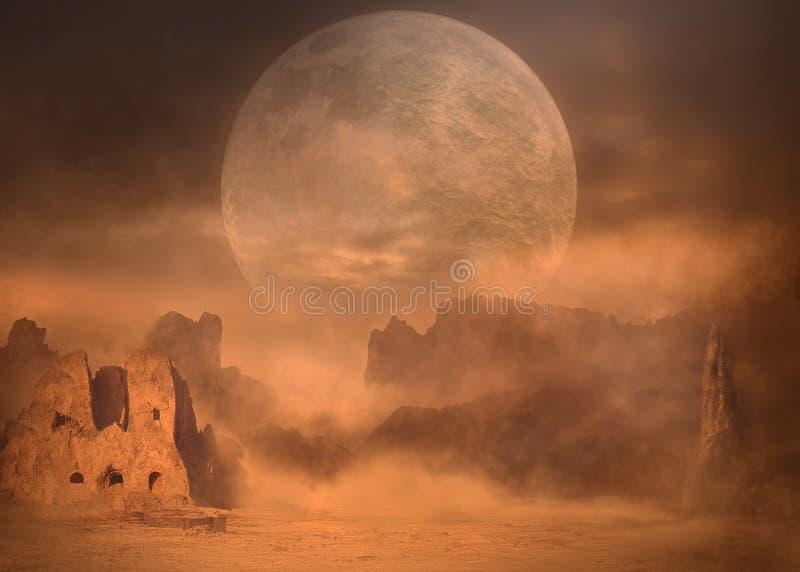 Pleine lune sur des crêtes de montagne de désert à la tempête de sable photos stock