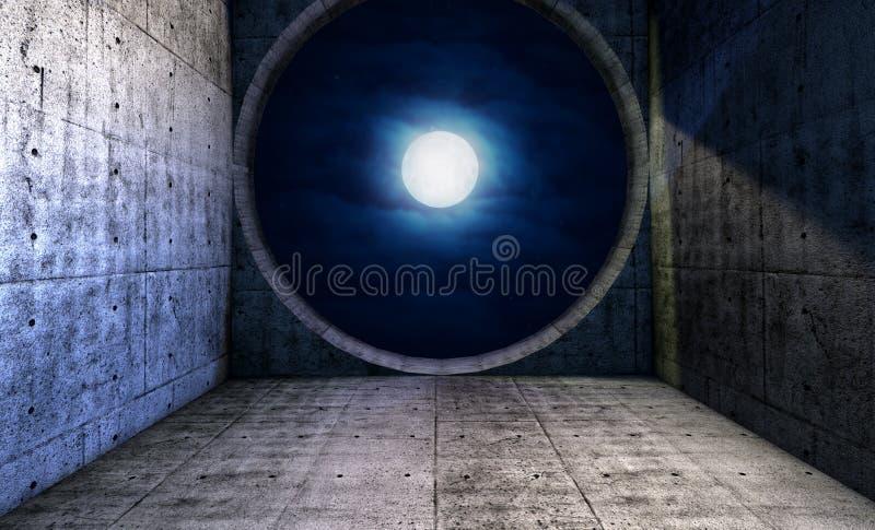 Download Pleine Lune Vue Par Une Fenêtre Ronde Illustration Stock - Illustration du fond, liberté: 45370925