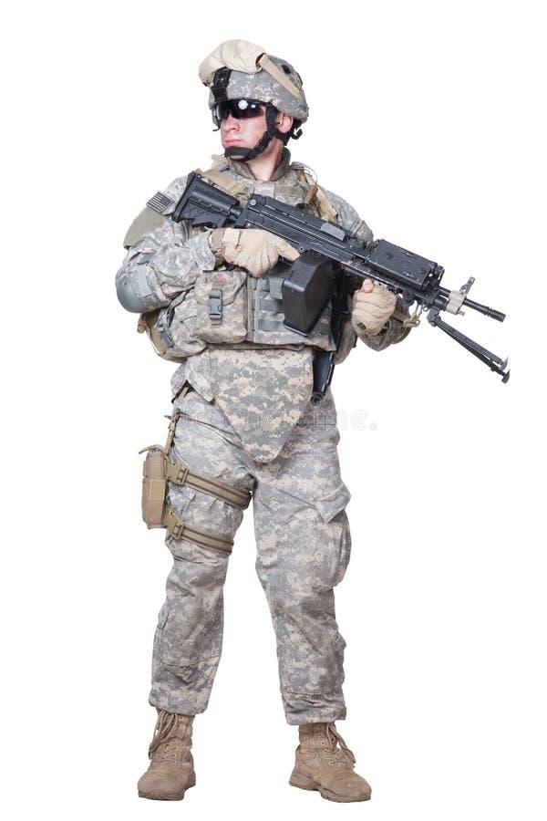 Pleine position marine équipée des USA avec la mitrailleuse photo stock