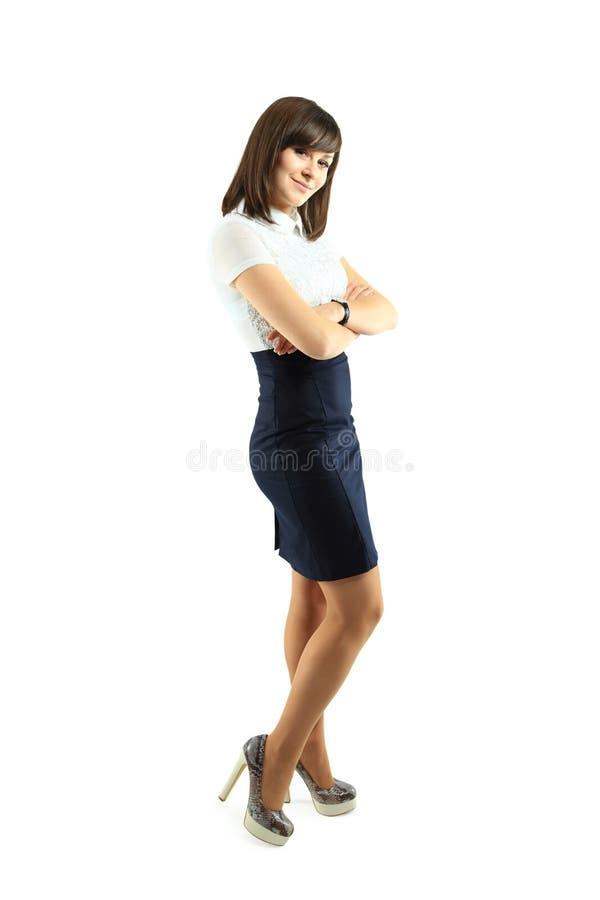 Pleine verticale de fuselage de femme de sourire heureuse d'affaires photos libres de droits