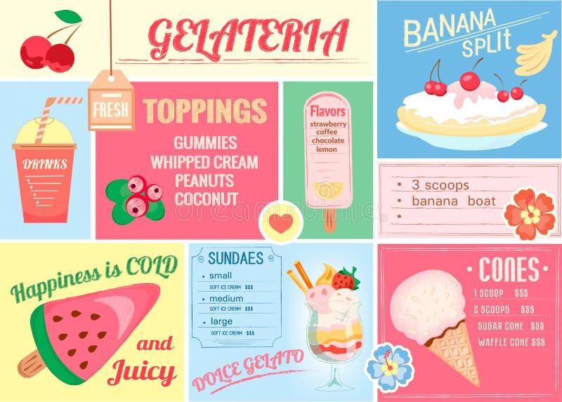 Pleismat, меню одн-страницы для мороженого и пить для каф, баров иллюстрация вектора