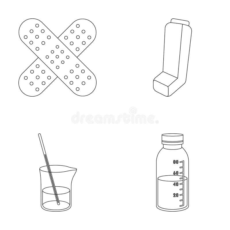 Pleister, inhaleertoestel, oplossing in een glas vector illustratie