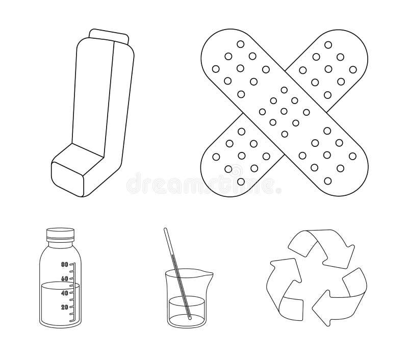 Pleister, inhaleertoestel, oplossing in een glas Pictogrammen van de Mtdicine de vastgestelde inzameling in illustratie van de he vector illustratie