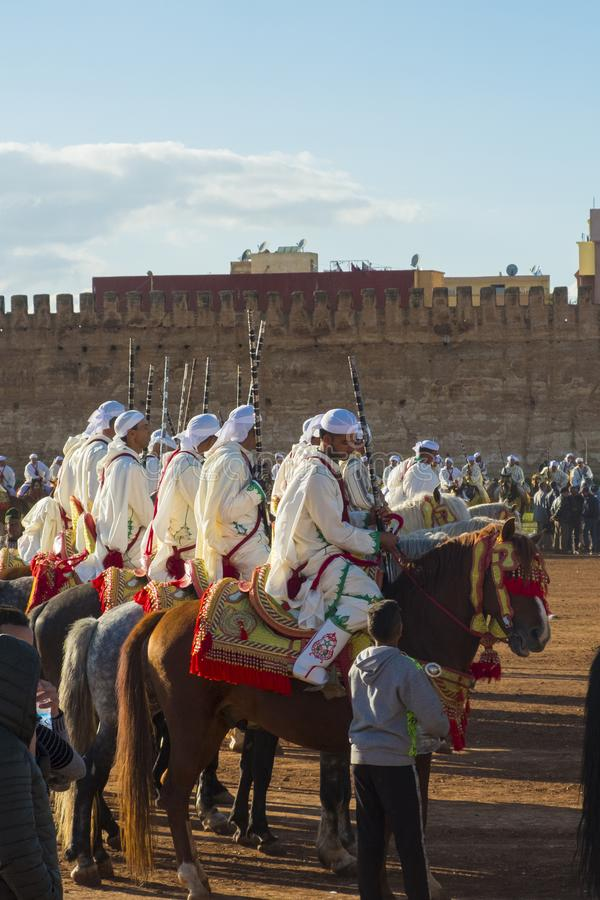 Plemię kawaleria Czeka Tbourida fantazję Maroko V fotografia stock