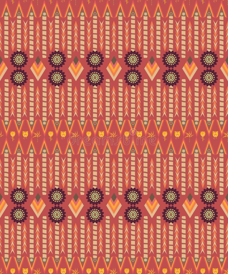 Plemienna etniczna kolorowa wzór płytka w brudno- czerwieni i pomarańcze ilustracja wektor