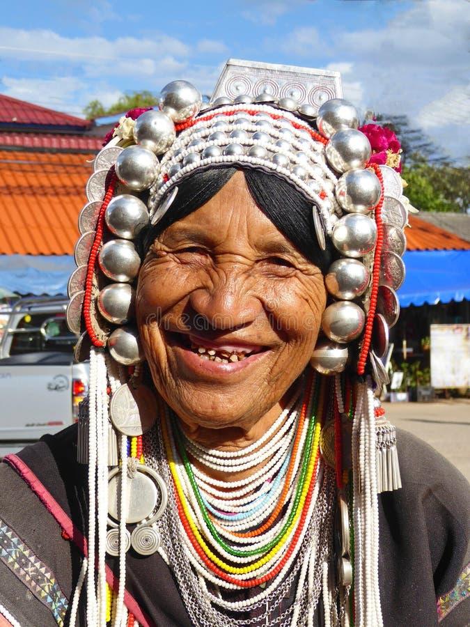 Plemienna kobieta w północy Tajlandia obraz royalty free