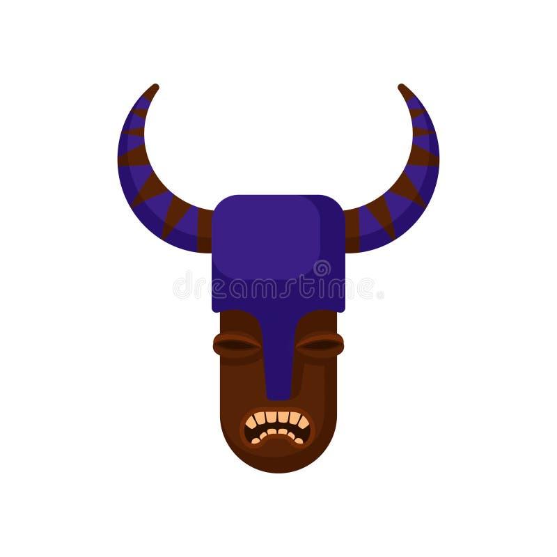 Plemienna maska z gniewnym twarzy i purpur hełmem z rogami Drewniany obrządkowy atrybut Płaski wektor dla mobilnej gry lub t ilustracja wektor