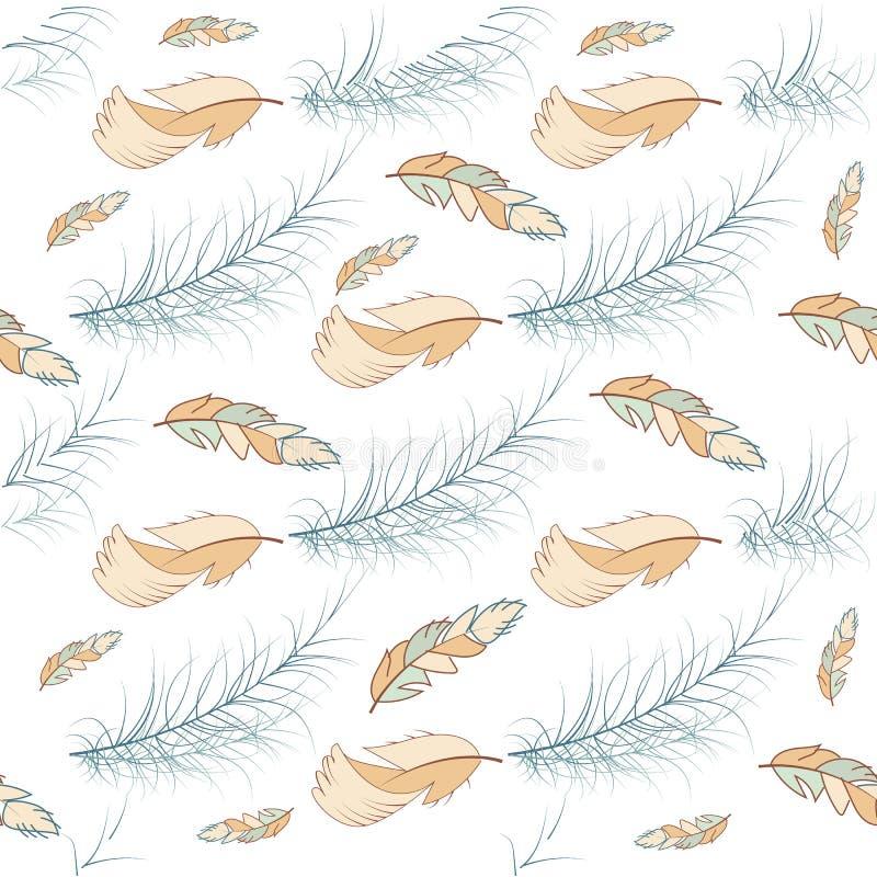 Plemienna piórkowa bezszwowa deseniowa ptasia ilustracyjna ręka rysujący tło natury skrzydła elementu wektorowej grafiki styl ilustracji