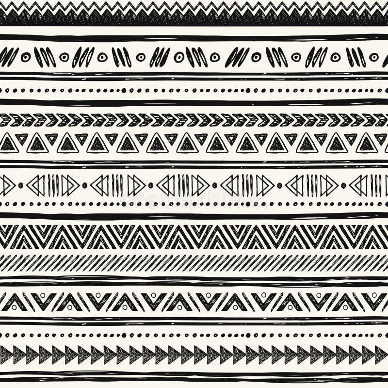 Plemienna ręka rysujący tło, etyki doodle wzór ilustracji