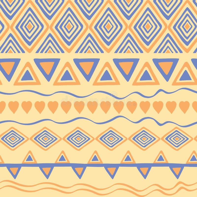 Plemienna ręka rysujący tło, etyki doodle wzór Geometryczne granicy Ręka rysujący abstrakcjonistyczny tło Tapeta dla deseniowych  royalty ilustracja