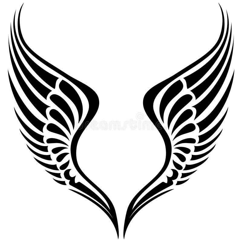 Plemienna skrzydłowa wektorowa sylwetka obraz royalty free