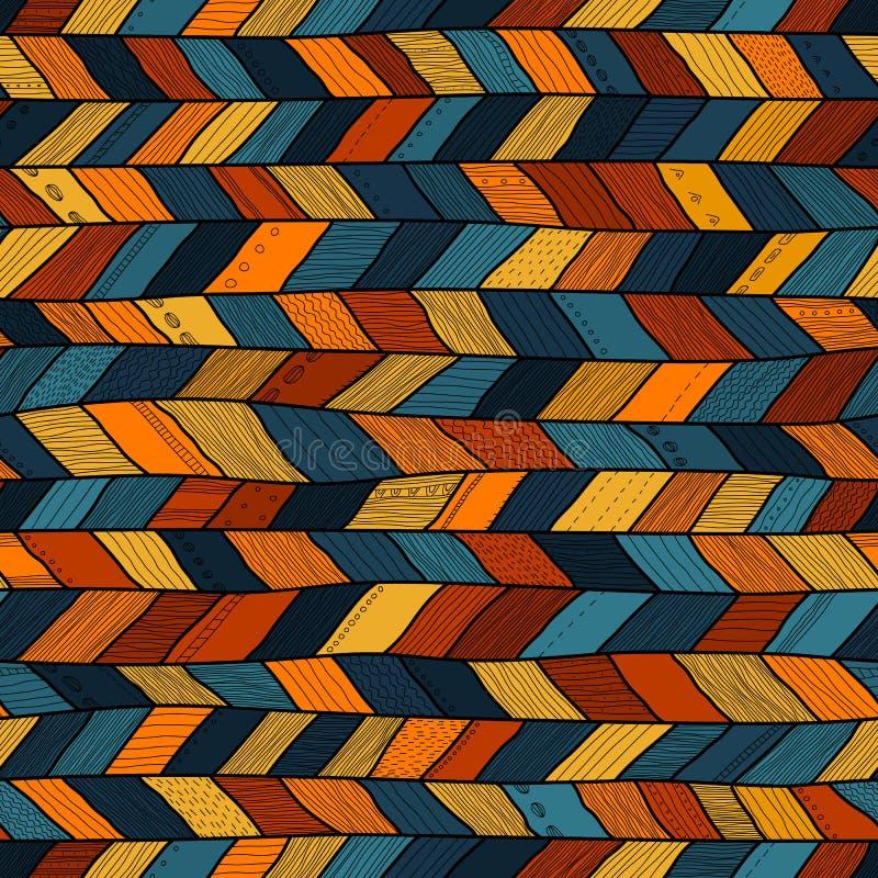 Plemienna stylowa szalona kołderka, etniczny szewron multicolor ilustracji