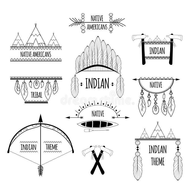 Plemienne etykietki ustawiać royalty ilustracja