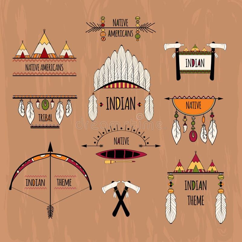 Plemienne etykietki ustawiać barwić royalty ilustracja