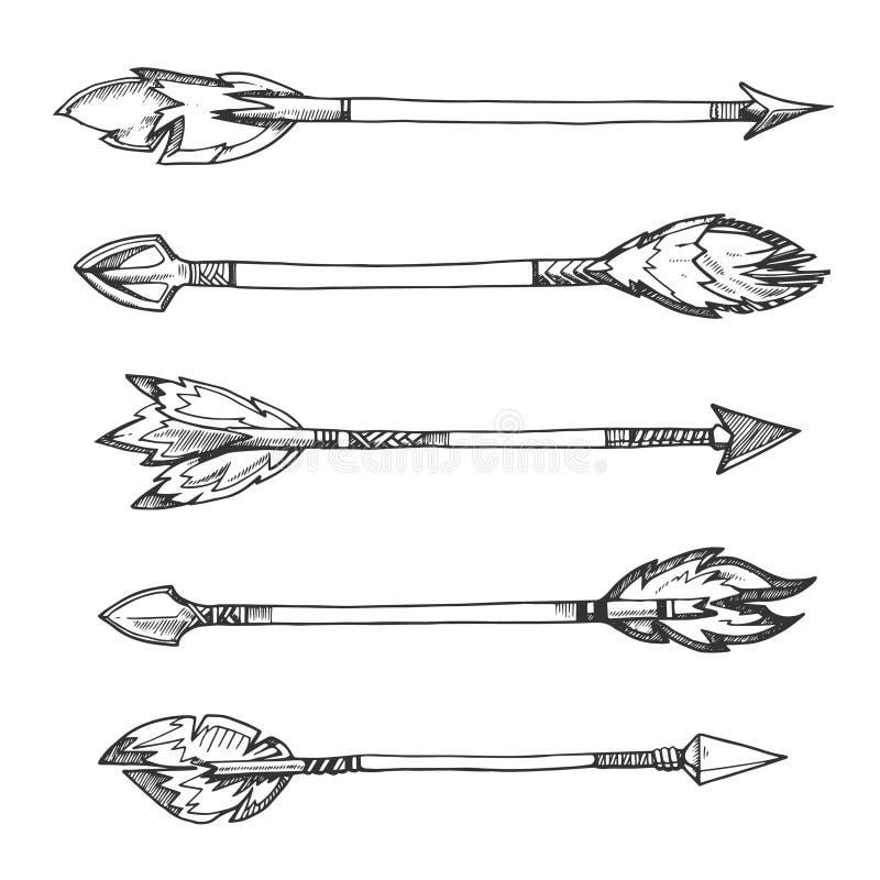 Plemienne indyjskie strzała Wektorowa ręka rysujący dekoracyjni elementy w boho projektują ilustracji