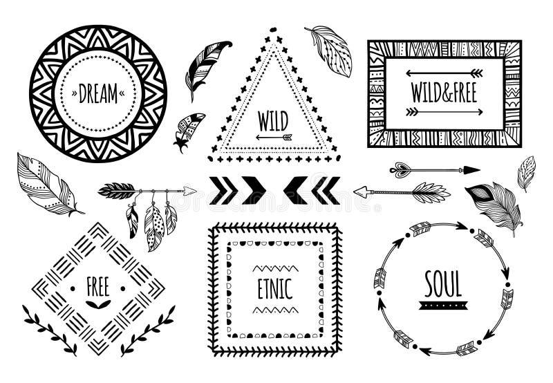 Plemienne ramy Amerykańsko-indiański etniczna rama, artystyczny aztec tatuaż lub tribals mody granica, odizolowywaliśmy wektor royalty ilustracja