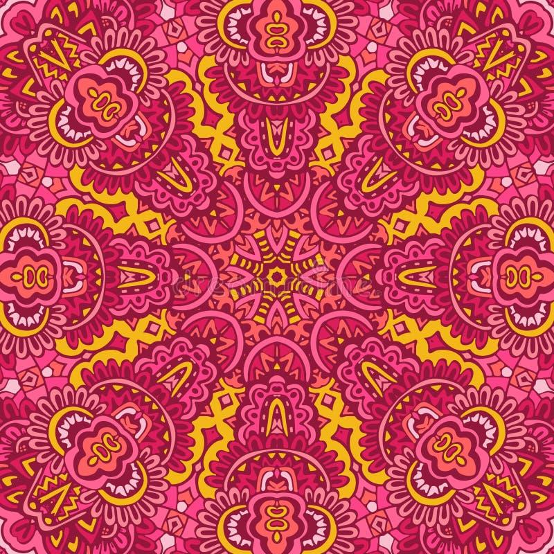 Plemiennego indyjskiego kwiatu etniczny bezszwowy projekt Świąteczny kolorowy mandala wzoru ornament royalty ilustracja