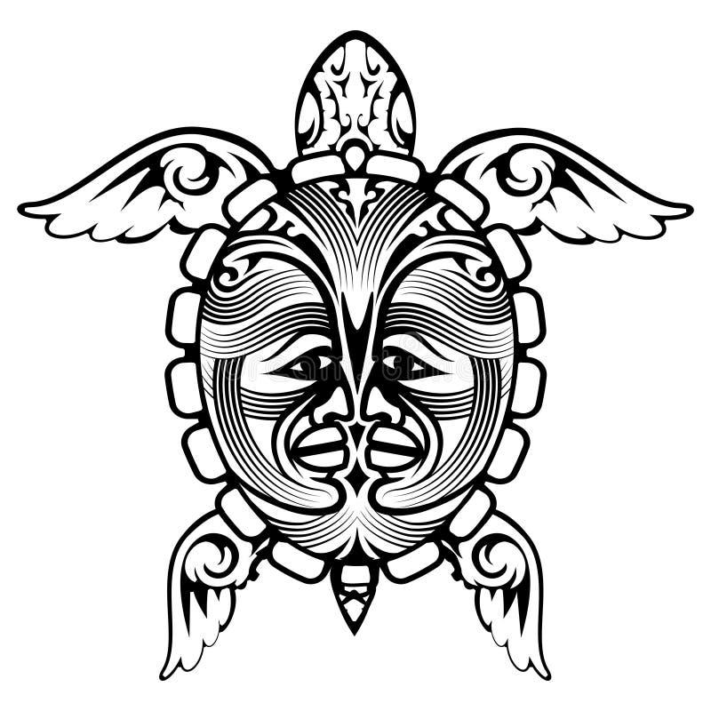 Plemiennego totemu żółwia Zwierzęcy tatuaż ilustracja wektor