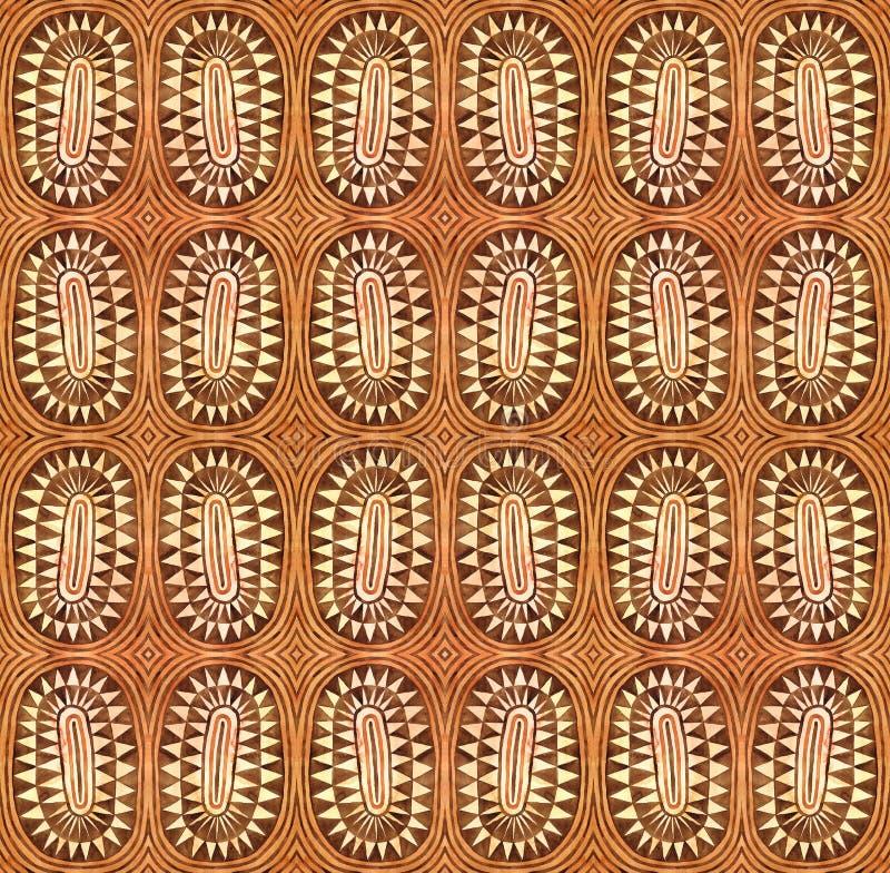 Plemiennej trójboka okręgu akwareli bezszwowy wzór Etniczny raster tło ilustracja wektor