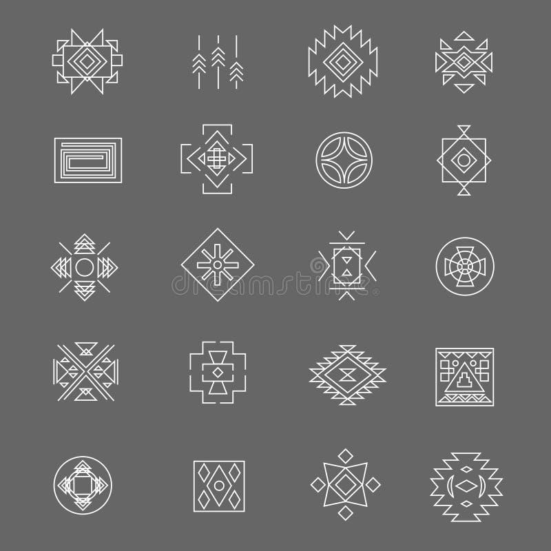 Plemienni amerykańsko-indiański liniowi symbole Kreskowa ręka rysować tradycyjne meksykańskie ikony ilustracja wektor
