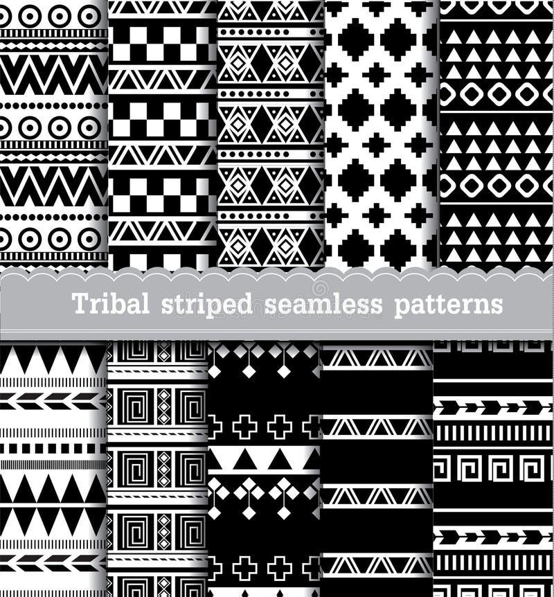Plemienni pasiaści bezszwowi wzory ilustracja wektor