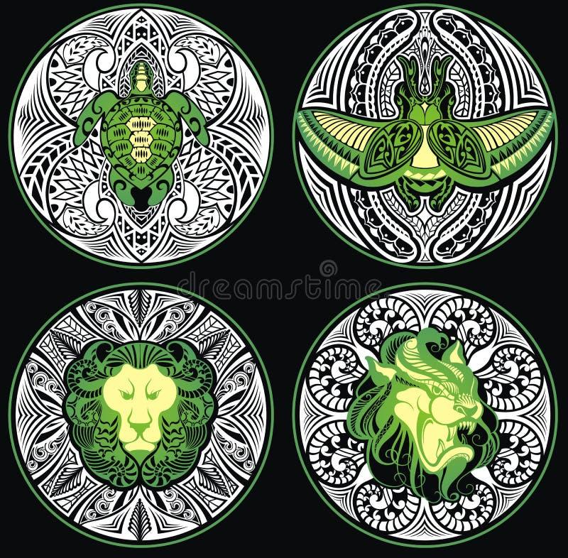 Plemienny amulet z zwierzętami ilustracji