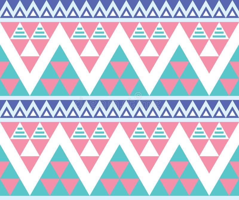 Plemienny aztec kolorowy bezszwowy wzór royalty ilustracja