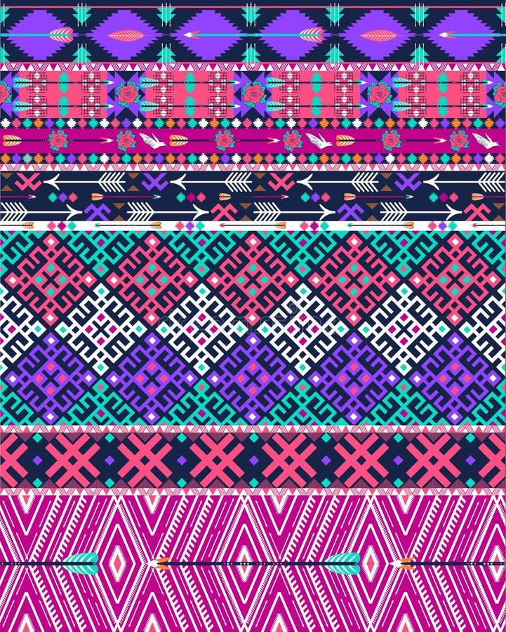 Plemienny bezszwowy aztec wzór z ptakami i kwiatami ilustracji