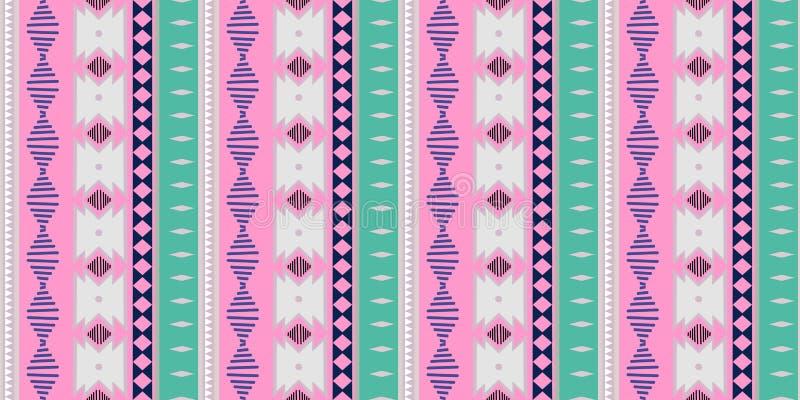 Plemienny bezszwowy wzór Afrykańskiego druku dekoracyjny tradycyjny rocznik kolorowe tła abstrakcyjne ręka patroszony wektor ilustracji