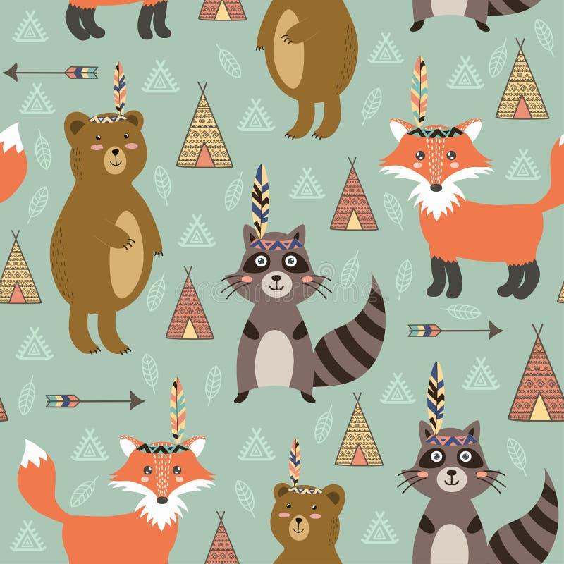 Plemienny bezszwowy wzór z ślicznymi zwierzętami ilustracji