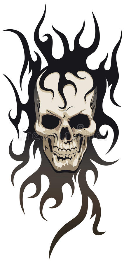 plemienny czaszka tatuaż ilustracja wektor