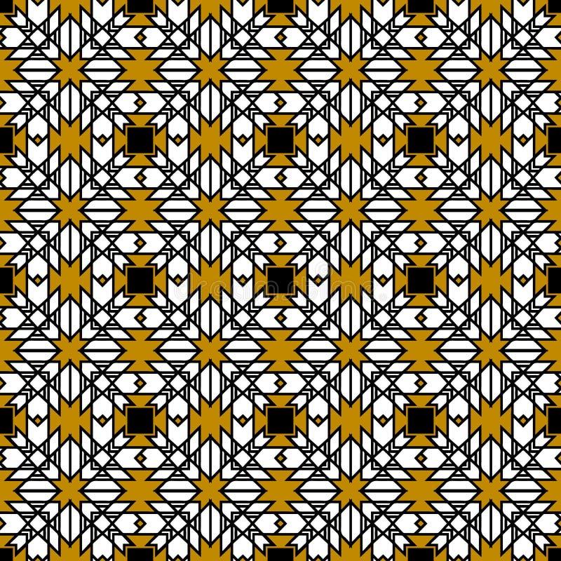 Plemienny geometryczny wektorowy bezszwowy wzór Abstrakt deseniujący geo royalty ilustracja