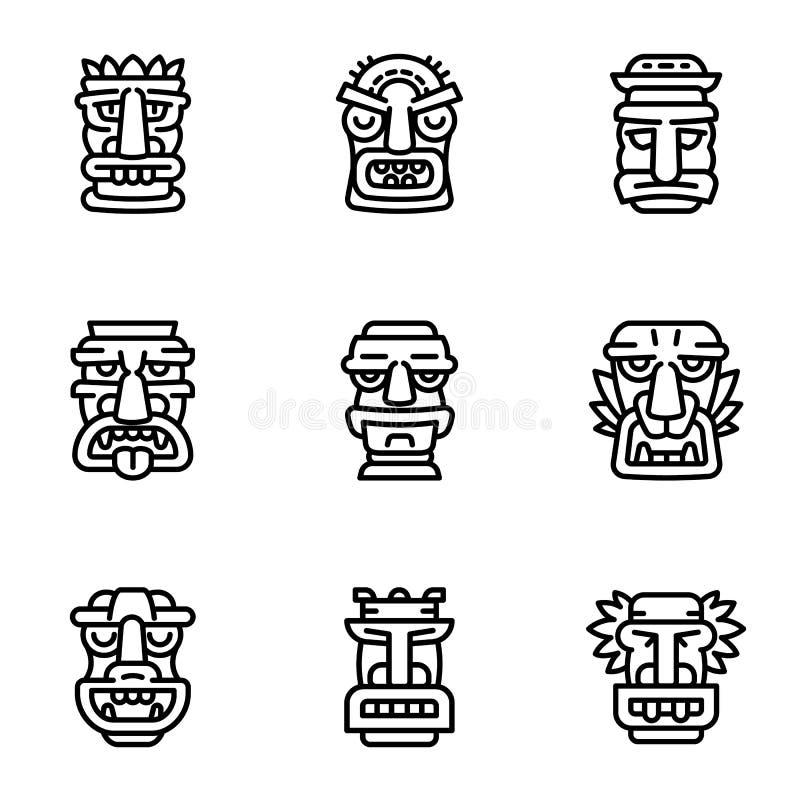 Plemienny idol ikony set, konturu styl royalty ilustracja